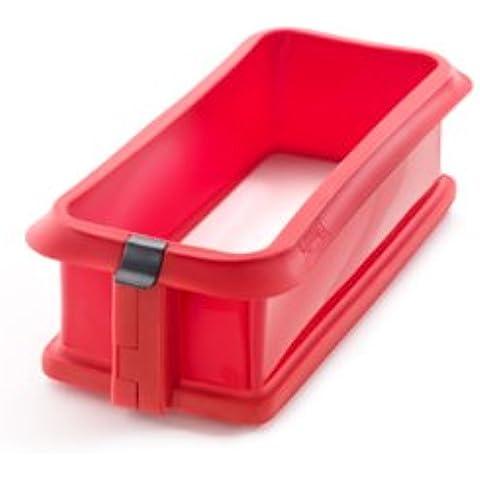 Lékué Duo - Molde rectangular desmontable, 24 cm + plato cerámica, color rojo
