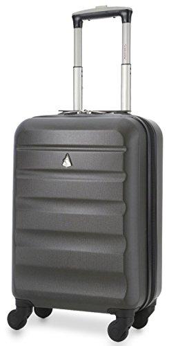 Aerolite Leichtgewicht ABS Hartschale 4 Rollen Handgepäck Trolley Koffer Bordgepäck Kabinentrolley Reisekoffer Gepäck , Genehmigt für Ryanair , easyJet , Lufthansa , Jet2 und Vieles Mehr , Kohlegrau (Trolley-gepäck -)