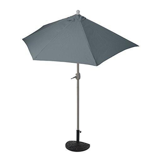 Mendler Parasol Parla en alu, hémicycle, Parasol de Balcon UV 50+ ~ 270cm Anthracite avec Pied