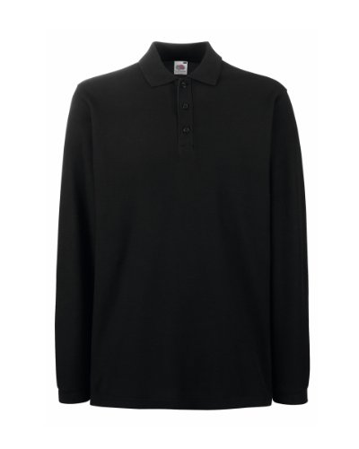 Fruit Of The Loom - Polo Manica Lunga - Uomo (XXXL) (Nero)