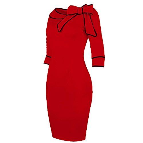 BUOYANCY Damen Elegant hoch Taille Bogen Knielang Etuikleid Business Party Pencil Abendkleid Kleider Red
