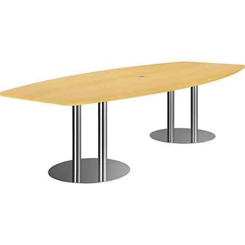 Nienhaus Konferenztisch PRO mit Säulenfüßen, 280 x 130/85 cm - 2 Säulenfüße, silber