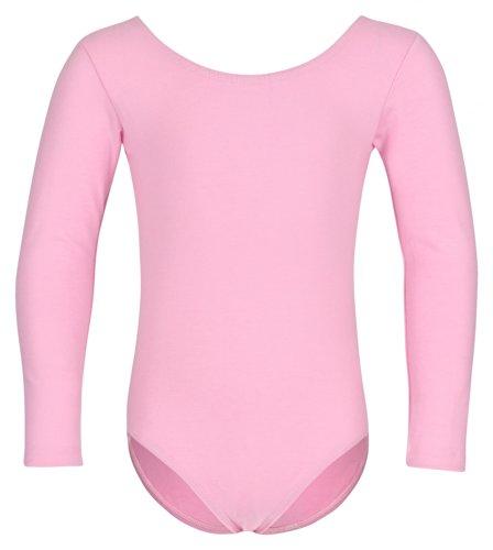 tanzmuster Kinder Langarm Ballettanzug 'Lilly' mit rundem Hals- und Rückenausschnitt. Basic Ballett Trikot in rosa, Größe:140/146