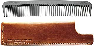 Chicago Comb Model 6 Carbon Fiber Comb + English Tan Horween leather sheath Made in USA ultimate styling comb for men & women ultra smooth strong & light anti-static premium leather sheath