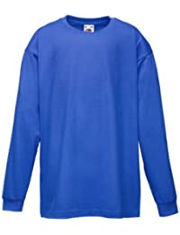 Fruit of the Loom Kids Long Sleeve Valueweight Tee Royal 12-13 Yrs