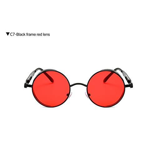 Taiyangcheng Steampunk Sonnenbrillen Klare Linse Runde Brillen Brille Spiegel Sonnenbrille Männer Frauen,Schwarz Rot