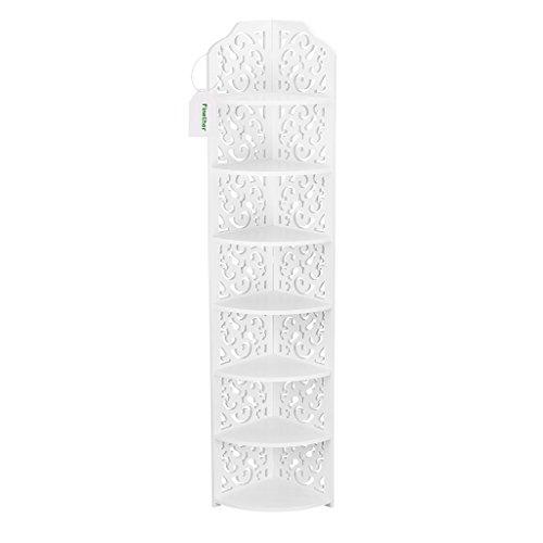 Finether weißesRegal EckregalStehregal StandregalSteckregal für Wohnzimmer Badezimmeraus WPC wasserdicht 7 Böden schmal weiß 20 x 20 x 118 cm