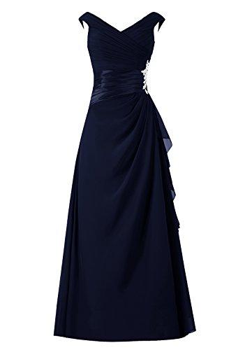 Dresstells Damen Abendkleider Bodenlang Homecoming Kleider Promi-Kleider Marineblau Größe 46
