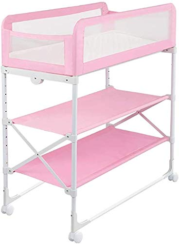 Changing Table Foldable Baby Diaper Changing Table,Movable Baby Changing Station with Safety Strap and Fence Baby Bath Table Dresser Unit Organizer (Color : Pink, Size : A) Changing Table ●Foldable changing table- Easily fold it if you finish all the tasks,With its space saving design, you can store it behind a door, it will make life a little easier for parents. ●Size and Safe and Stable- 80x 50 x 107cm,Suitable for babies weighing less than 25kg,With seat belt,Changing pad has a restraining strap for added safety and is made of easy to clean, soft ●2-in-1 design: Baby changing table can be used as baby massaging table as well. It is designed at the proper height of parent to prevent mom's back aches and pains from kneeling or bending when changing diapers to babies. 1