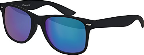 Original Balinco UV400 CAT 3 CE Vintage Unisex Retro Wayfarer Sonnenbrille - verschiedene Farben in Einzel - Doppelpack & Dreierpack wählbar (Einzelpack - Rahmen: Schwarz Matt, Gläser: Grün / Blau verspiegelt)