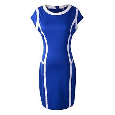 PU&PU Robe Aux femmes Gaine Sexy / Chic de Rue,Mosaïque Col Arrondi Au dessus du genou Coton / Spandex BLUE-S