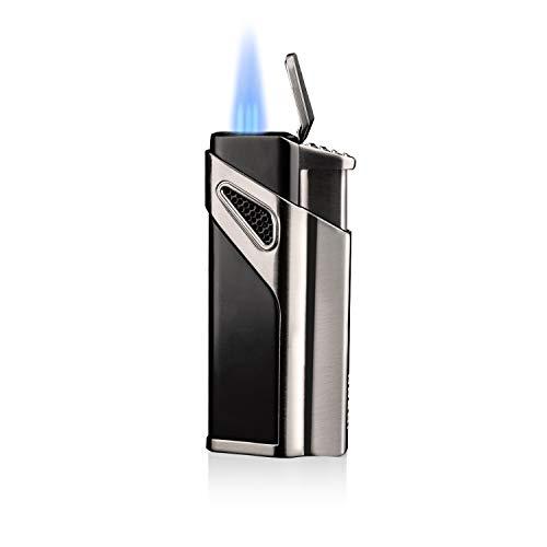 Sturmfeuerzeug,Doppel Jetflamme Feuerzeug Zigarren, Nachfüllbare Gas-Sturmfeuerzeug, Pfeifenfeuerzeug, Gas Feuerzeug -