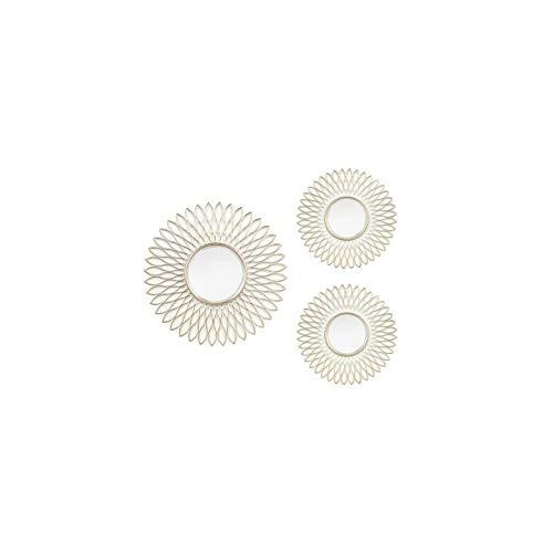 Art Deco Home - Espejo Set 3 Unidades Blanco Y Dorado