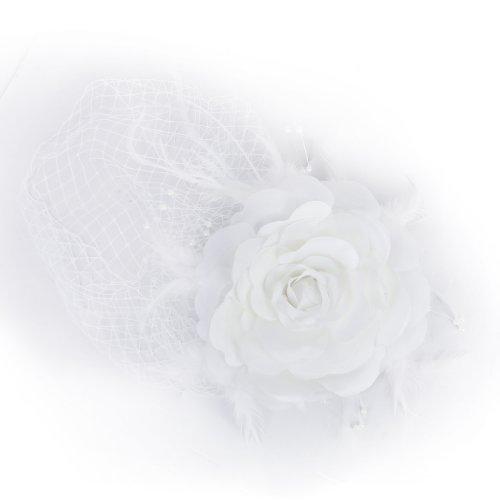 fascinator wei  Blume und Feder Vogelbauer Französisch Netz Braut- Hochzeit Schleier Fascinator - weiß