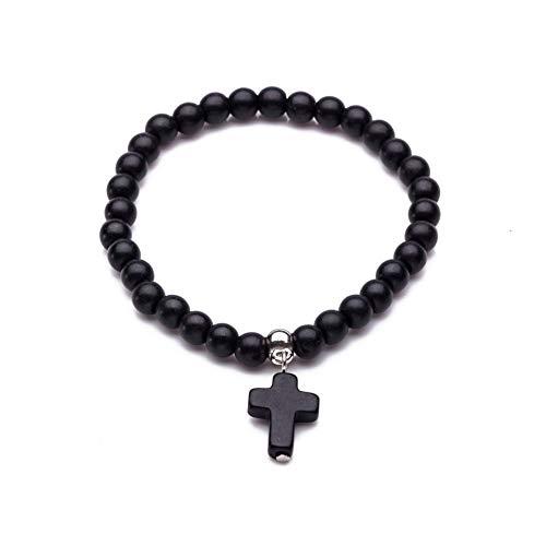 XIANNU Damen Armband,6 Armbänder mm Naturstein Perlen Kreuz Damenmode Naturstein Armbänder für Frauen Classic elastisches Armband schwarz