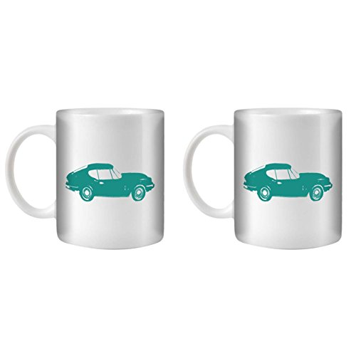 STUFF4 Tea/Coffee Mug/Cup 350ml/2 Pack Turquoise/GT6 Mk3/White Ceramic/ST10