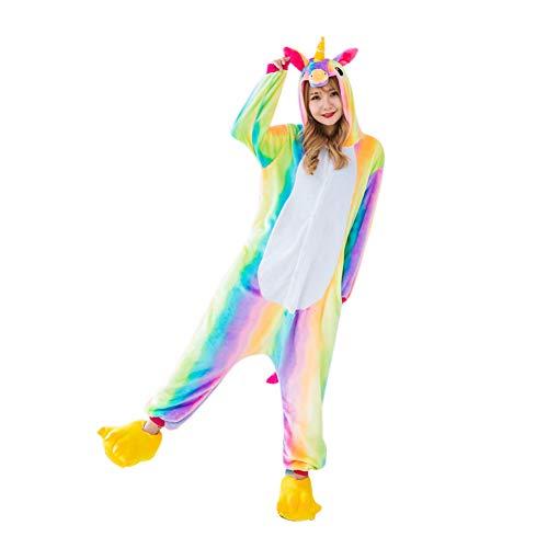 Jushi Einhorn-Jumpsuits Warmer Cartoon Tier Pyjama Kostüm Plüsch Loungewear Einteiler Cosplay Einhorn Kostüm, Größe L