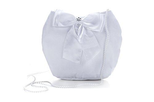 Frühlings-SALE! Brauttasche Abendtasche festliche Tasche Weiß/aufgesetzte Blume