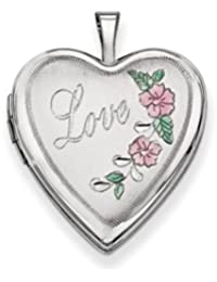 14K 20mm White Gold Enamel Flowers Love Heart Locket by UKGems