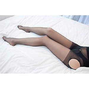 HFjingjing Sexy Kleidung Frauen Sexy Fitness Open Crotch Ouvert Sheer Strumpfhosen Socken Strümpfe Tights_Black Cosplay Kostüm