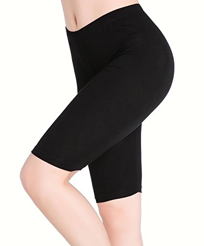 Damen Unter Rock Shorts Leicht Bequem Knielange Hosen Leggings Kurz Schwarz (Leggings Halloween)