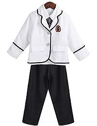 CHICTRY Jungen Schuluniform Cosplay Kostüm Festlich Anzug Oxford Hemd,  Mantel, Lange Hose, Krawatte c27720a07a