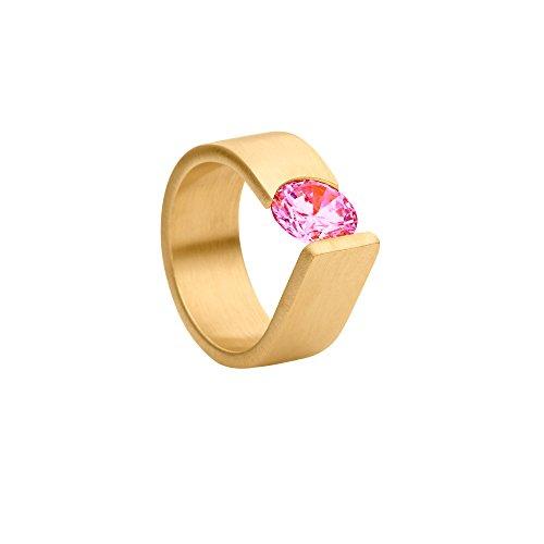 Heideman Damen Ring Maxime XL Antragsring Verlobungsring Spannring gelbgold vergoldet gold plattiert aus Edelstahl mit Stein rosa pink von Swarovski Größe 57