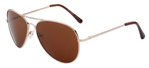 Pilotenbrille Fliegerbrille Pornobrille Sonnenbrille Art. 4027-4 Rahmen: gold, Gläser: braun, mit...