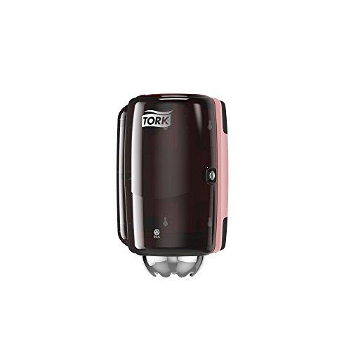 Tork 658008 Mini Innenabrollungsspender für M1 Papierwischtücher im Performance Design / Wischtuchspender für hygienische Einzeltuchentnahme in Rot-Schwarz