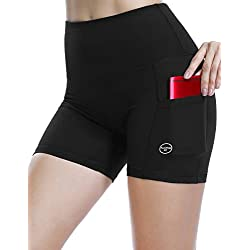 ALONG FIT Shorts de Yoga de Mujer, Mallas de Mujer Leggings Opaca Deportivo con Bolsillos para Yoga Correr Gimnasio