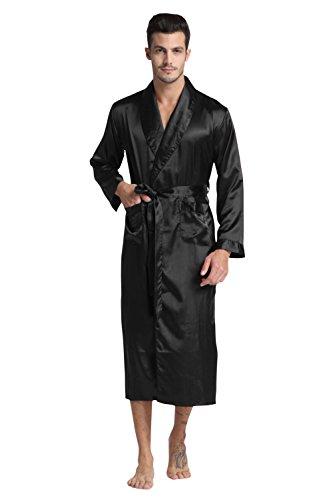 Schwarze Satin-robe (TONY & CANDICE Herren Lange Klassische Satin Charmeuse Morgenmantel/ Robe (L, Schwarz))