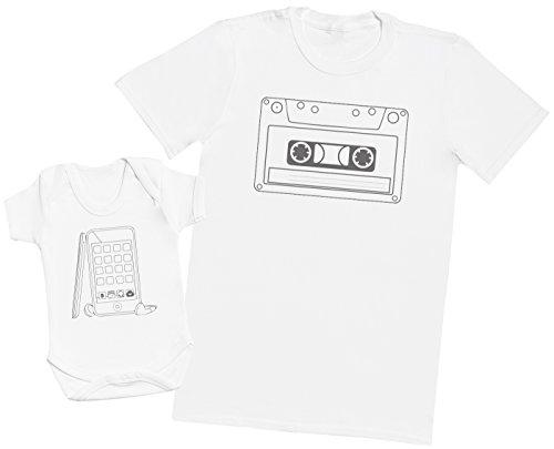 Cassette Tape and Phone - Regalo para Padres y bebés en un Cuerpo para bebés y una Camiseta de Hombre a Juego - Blanco - Small & 0 Meses