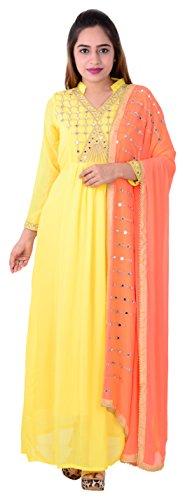 Generic Aryan Fashion Women's Faux Georgette Mirror Work Salwar Suit (Yellow, Bottom...