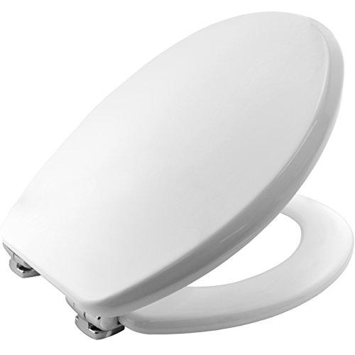 Bemis 4402CL000 MEMPHIS Formholz WC-Sitz mit verchromten Scharnieren mit Absenkautomatik, Weiß - Wc-scharnier Bemis