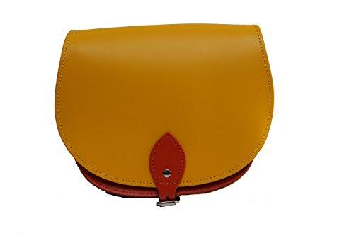 Lumineux couleur jaune et naranja Deux / Dual / Contraste / de cuero real Cuerpo Cruz Saddle Sac ˆ main avec sangle rŽglable et fermeture ˆ boucle. Disponible dans de nombreuses combinaisons