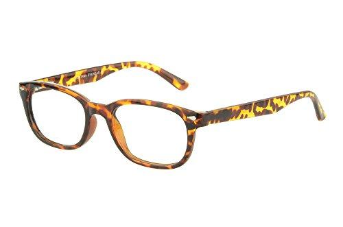 Edison & King Moderne Brille im angesagten Nerd-Stil - inklusive Kunstederetui - in verschiedenen Farben und Stärken (Havana, 2,50 dpt)