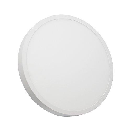 IberiaLux LED Downlight de superficie, LED plafón de superficie, 24W Blanco Redondo (luz fría 6000K)