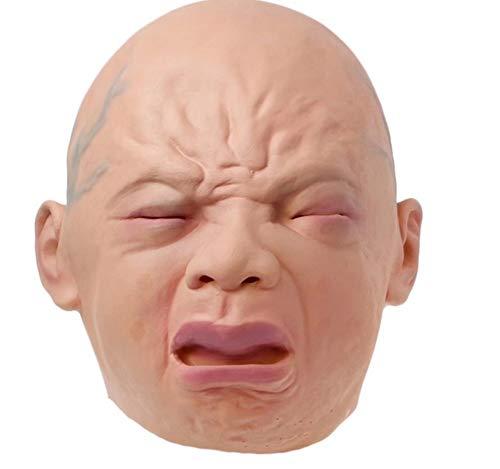 Cry Baby Latex Kopfmaske, Neuheit Deluxe Creepy Cry Baby Maske Halloween Cosplay Party Adult Zubehör (Mülleimer Baby Kostüm)