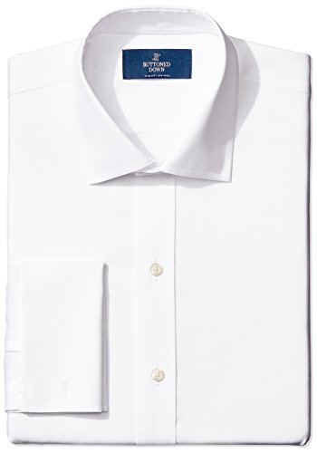 Buttoned Down Slim Fit French Cuff Spread Collar Solid Smoking Hemd, Weiß (white), 17.5