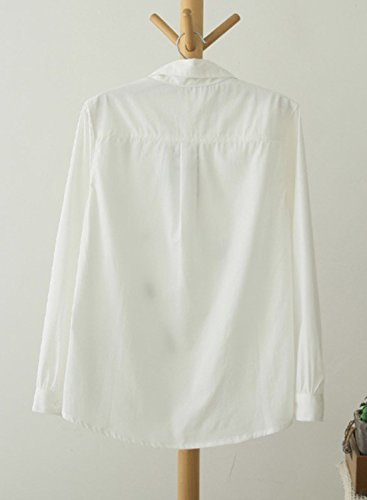 ACHICGIRL Women's Casual Tree Embroidery Button down Shirt white
