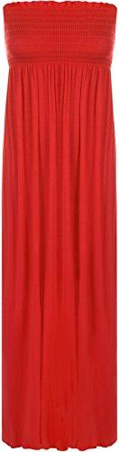 WearAll Damen einfachen shirred bandeau trägerloses mit rüschen besetztes langes Maxi Kleid - Red - 36-38 (Star Bandeau)