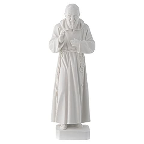 Padre Pio statue, 30 cm in white marble dust
