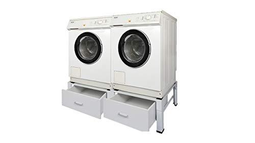 DOPPEL Waschmaschinenuntergestell und Trockner Sockel Podest Untergestell für Waschmaschine Gefrierschrank Kühlschrank Unterbau für nahezu alle Waschmaschinen -