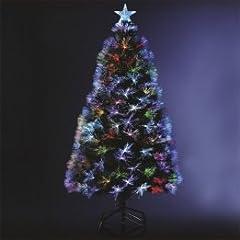 Idea Regalo - Albero di Natale in fibra ottica + 88 cristalli di ghiaccio + 8 giochi di luce - Altezza 90 cm