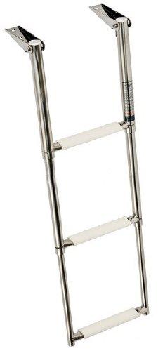 Osculati Edelstahl Teleskop Badeleiter - mit 3 oder 4 Stufen erhältlich - rutschfest, Größe:3 Stufen