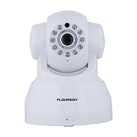 FLOUREON Caméra IP sans Fil 720p PT Carte SD Audio Bidirectionnel Détection de Mouvement Vision Nocturne Caméra de Surveillance Wifi Onvif Vision à Distance IOS Android Microphone Intégré Blanc