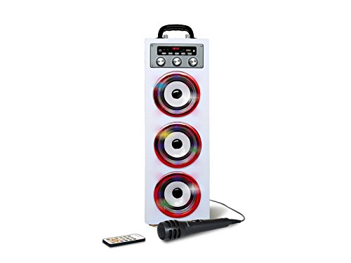 Pure Acoustics MCP-30 Portable Multimedia Karaoke Machine w/ Mic, Bluetooth, Disco Lights, USB Port, SD Card Slot and Audio Input for Smartphone, Tablet, & MP3 Players in White Mp3-player-w Sd-card
