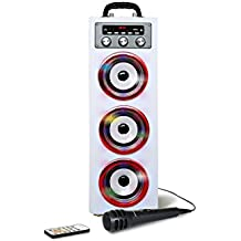 Pure Acoustics MCP-30 Portable Multimedia Karaoke Machine w/ Mic, Bluetooth, Disco Lights, USB Port, SD Card Slot and Audio Input for Smartphone, Tablet, & MP3 Players in White