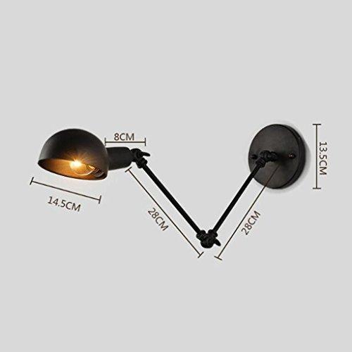 KYDJ Couvre-culasse télescopique Lampe Murale lampe de chevet Chambre Restaurant vent industrielle Machines Pliage créatif Retro Double Fer Lampe Murale retro style industriel nostalgique Wall Lamp E27 ( Couleur : B )