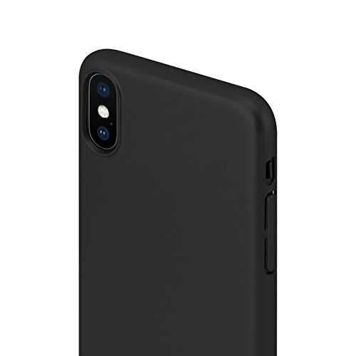 iPhone X Hülle JAMMYLIZARD Extra Dünne [Slim Fit Series] Hard Case für Apple iPhone X Edition (2017), Rose Gold [inkl. iPhone X Panzerglas] Matt Schwarz